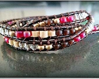 Red Wrap Bracelet, Chan Luu Bracelet, Statement Bracelet, Womens Wrap Bracelet, Beaded Wrap Wristband, Leather Wrap Jewelry