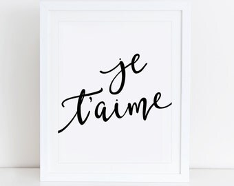 Je Taime Art Print, French Quote, Instant Download, Printable Home Decor, Digital Art, Black And White, Minimalist Print, Typography