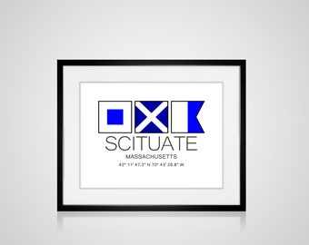 "SCITUATE, Massachusetts Nautical Flag Art Print  Is 8"" x 10"" Or 11"" x 14"" Ocean Beach Cabin Lodge Coastal Decor Home"