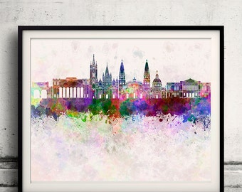 Guadalajara skyline in watercolor background - Poster Digital Wall art Illustration Print Art Decorative - SKU 1404