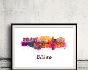 Bilbao skyline in watercolor over white background with name of city - Poster Wall art Illustration Print - SKU 1871