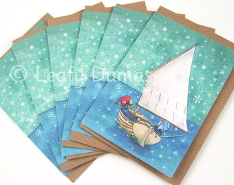 Pack of SIX cards, Snowy Sailing