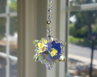 Aurora Borealis Edelweiss, flower suncatcher, Flower car decoration, Edelweiss crystal suncatcher, mirror decoration, rear view mirror