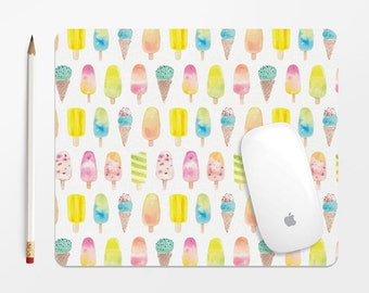 Watercolor Mousepad - Colorful Ice Cream Patterned Mouse Pad