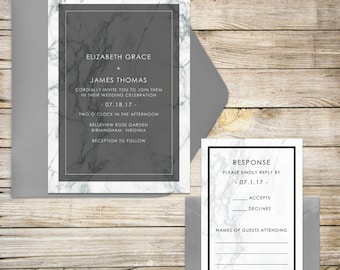 Marble Wedding Invitations, Modern Wedding Invitation, Black and White, Gray and Black Marble