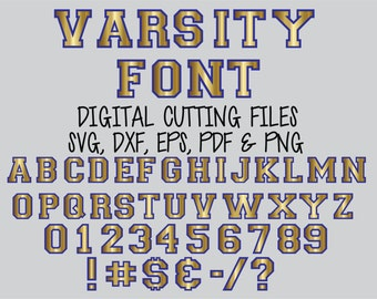 Svg SPORTS VARSITY FONT Layered Digital Cutting Files Svg Alphabet Cut File - Svg Dxf Eps Letter font Cut files for Silhouette, Cricut