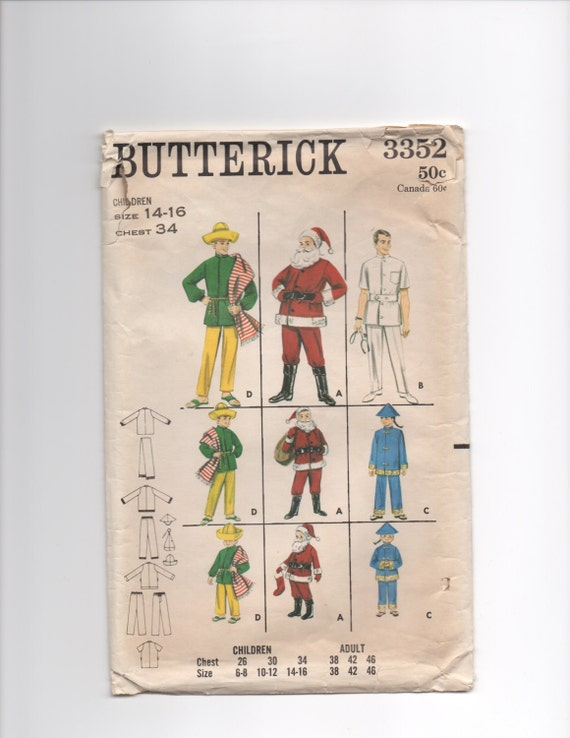 Sewing Pattern Butterick 3352 children and adult costumes