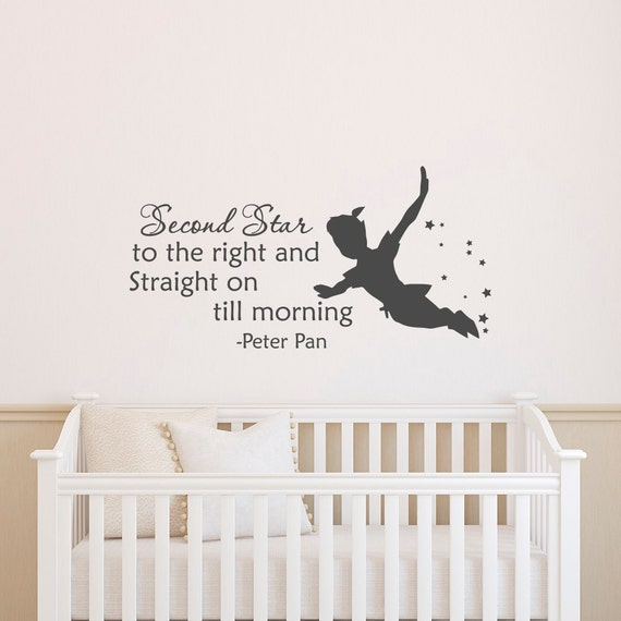 peter pan silhouette wall sticker citation deuxi me toile. Black Bedroom Furniture Sets. Home Design Ideas