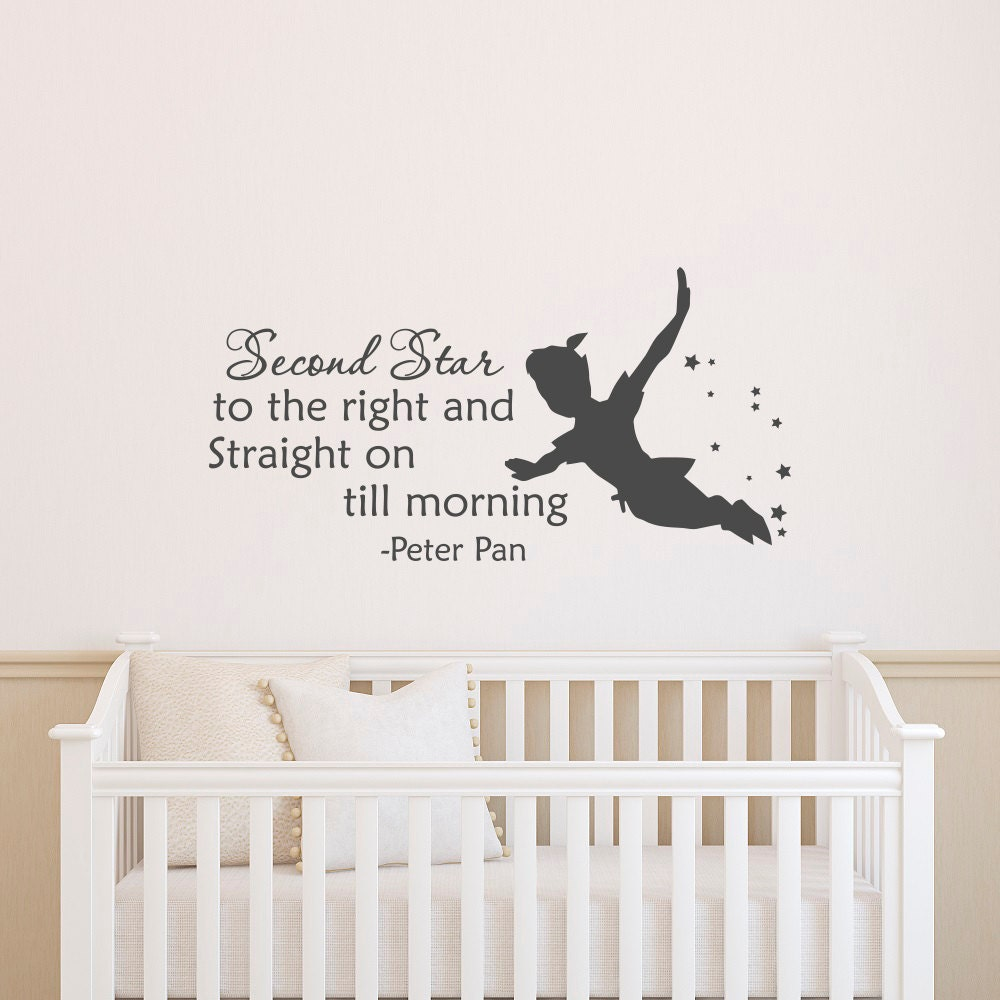 Peter pan silhouette wall decal quote second star to the right zoom amipublicfo Gallery