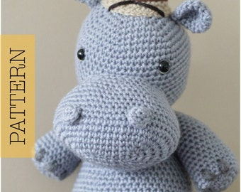 Crochet Amigurumi Hippo PATTERN ONLY, Harvey Hippo, pdf Amigurumi Safari Stuffed Toy Pattern, Hippopotamus