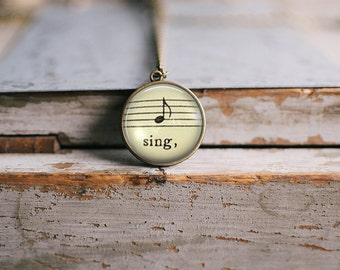 "Vintage Music Note ""Sing"" Necklace ⇻ Glass Dome Sheet Music Necklace ⇻ Shabby Chic Pendant Necklace"