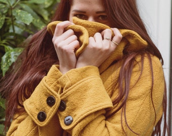 Mustard Wool Coat Size M
