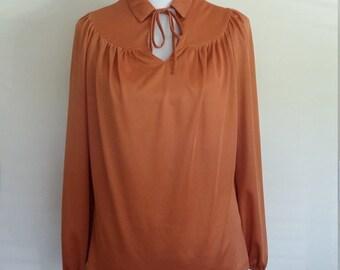 70's top, M, L, rust top, fall top, prairie blouse, 70's prairie top, gathered top, western top, orange blouse