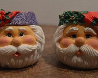 Santa Head Resin Votive Candle Holders