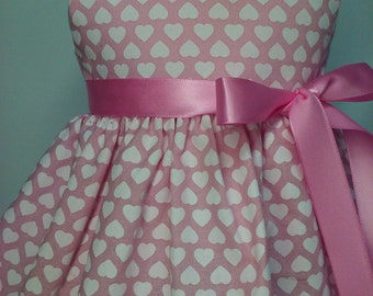 American Girl Doll Clothes-Handmade - Dress- White Hearts on Pink