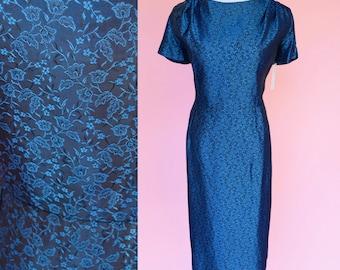 60s Vintage, Dark Blue, Cocktail dress // 1960s, Midnight Blue, Floral Party Dress, Women's Size Medium