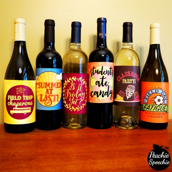 Wine Bottle Labels for teachers & SLPs - Digital Download