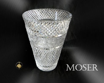 Moser vintage HEAVY art glass vase etch band decorations - marked