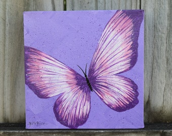 Unique Purple and Pink Butterfly Handpainted on a 6x6 canvas