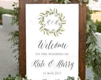 Personalised Printable Floral Wedding Sign, Welcome to our Wedding, PDF