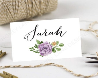 Personalised Printable Wedding Place Cards,Name Cards - Purple Flower Collection
