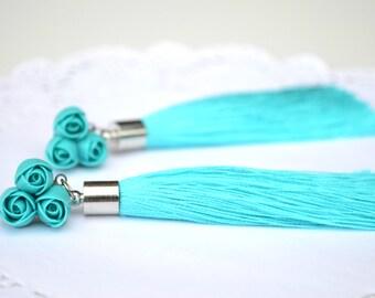 Turquoise tassel earrings jewelry. Wedding bridal bride brides turquoise roses tassel earrings. Statement earrings jewelry