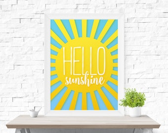 Hello Sunshine Printable poster, morning print, sunshine print, Children's Room Decor, Nursery Art, Kid's Art, Nursery Decor, Wall Art