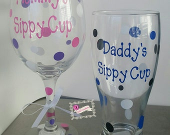 his and hers set mommy's sippy cup daddy's sippy makes a great gift couples new baby shower parents mommy daddy wine beer glass birthday