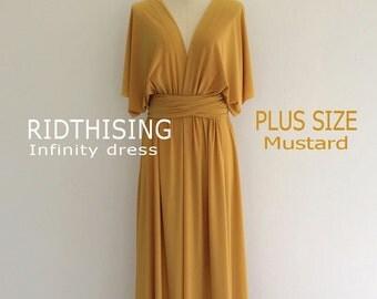 Plus Size Maxi Mustard Infinity Dress Bridesmaid Dress Prom Dress Convertible Dress Wrap Dress