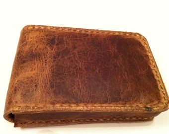 Distressed Leather playing card case