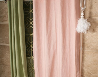 Pale Pink Linen Cotton Blended Curtain Drapery Panel