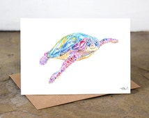 Watercolour Turtle Card ~ Turtle card, sea turtle card, turtle art, sea turtle art, watercolour turtle, watercolour sea turtle, sea turtle