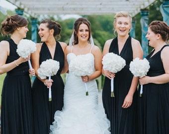 Infinity Multiway Convertible Twist Wrap Dress Bridesmaid Wedding Prom Evening Black