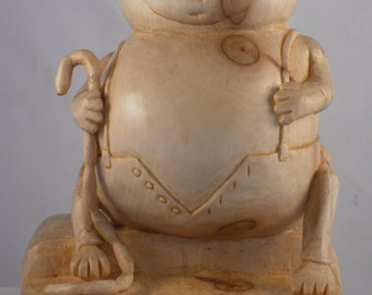 Fat cat, artistic wood carving, carved sculpture, handmade, wooden sculpture