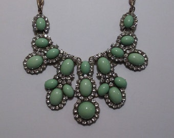 Necklace Vintage Necklace Vintage Statement Necklace Rhinestones Blue Teal Necklace