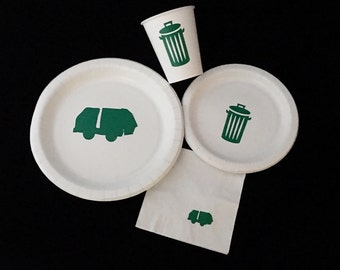 Garbage Truck Party Pack - Trash Truck - I Stink Birthday - Garbage Man Baby Shower - Waste Management - Trash Cans - Earth Day - Recycle
