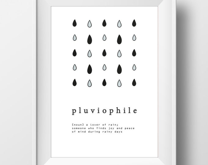 Pluviophile Poster/ Rain Lover Digital Print / Quote A4/A3 Poster / Rain Lovers Poster / Rain Definition Poster/ Definition Wall Art