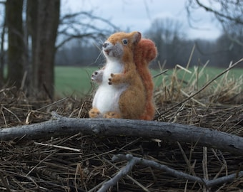 Realistic Red Squirrel, Needle Felted in Wool, Soft and Sweet
