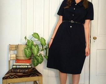 vintage classic navy blue shirt dress