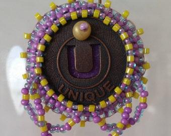 Unique Bead Embroidery Necklace - 01U45