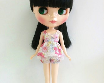 Pink Floral Top and Shorts (for Neo Blythe & Licca)