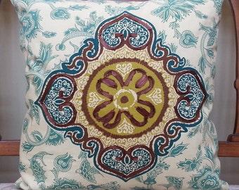 KRAVET-Decorative Pillow Cover with Unique Appliqued Suzani Bird Patterned Cotton Fabric 18 x 18