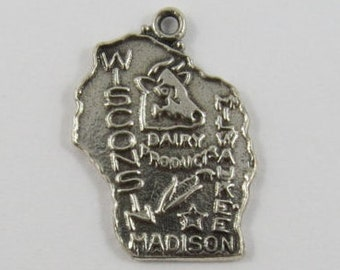 Map of Wisconsin State Sterling Silver Vintage Charm For Bracelet