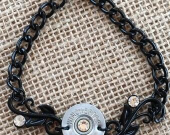20 Gauge Shotgun Shell and Black Swirl Bracelet, Womens jewelry, Upcycled bullets, Ammo bracelets, Womens bracelets, Bullet jewelry