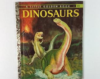 "Dinosaurs Vintage 1959 Children's Little Golden Book ""A"" First Edition"