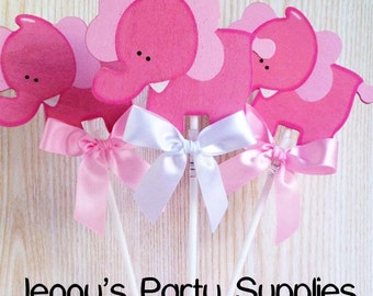 Set Of 6 Pink Elephant Centerpieces, Girl Elephant Diaper Cake Topper, Girl  Safari Baby
