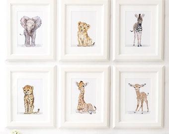 Safari Nursery Print set of 6, African Baby Animal Prints,Giclee, African Animal Art, Safari Nursery Art, Baby Elephant, Giraffe, Lion,