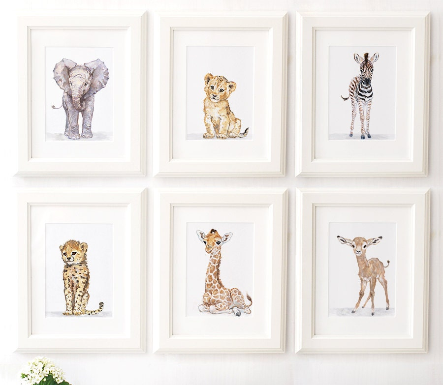Safari Nursery Print Set Of 6 Safari Animals African Baby