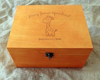 Personalized Baby memory box, Baby keepsake box, Giraffe memory box, Custom engraved box, Personalized keepsake box