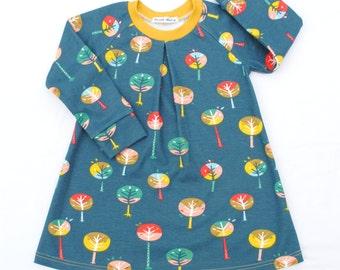 Birch Organic Girls Dress,Happy Trees,Winter dress,Organic Cotton Baby Dress,Organic Cotton Toddler Dress